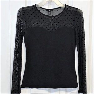 H&M Blouse Size M Black with Mesh